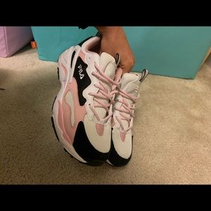Women's Pink Black and White Filas